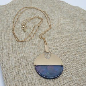 Long Statement Necklace Frosted Gold Tone Pendent